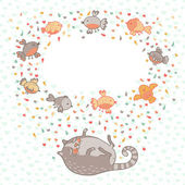 Vector illustration of a cute cat and birds. Card with place for — Stock Vector