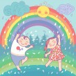 Illustration with happy children, rainbow, rain, sun — Stock Vector