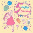 Birthday of the little girl 5 years. Greeting card or invitation — Stock Vector