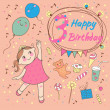 Birthday of the little girl 3 years. Greeting card or invitation — Imagen vectorial