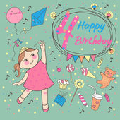 Birthday of the little girl 4 years. Greeting card or invitation — Stock Vector