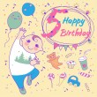 Birthday of the little boy 5 years. Greeting card or invitation — Stock Vector