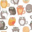 Seamless pattern with cute cats in the vector — Stock Vector
