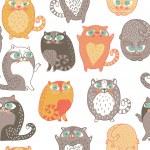 无缝模式与向量中可爱猫 — 图库矢量图片