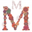 Vector illustration on the letter M from abstract decorative flo — Stock Vector #26515587