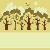 Illustration de la forêt à feuilles caduques vert avec une place pour votre te — Vecteur