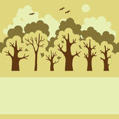 Illustration of green deciduous forest with a place for your te — Stockvector