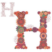 Vector illustration on the letter H from abstract decorative flo — Stock Vector