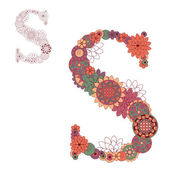 Vector illustration on the letter S from abstract decorative flo — Stock Vector
