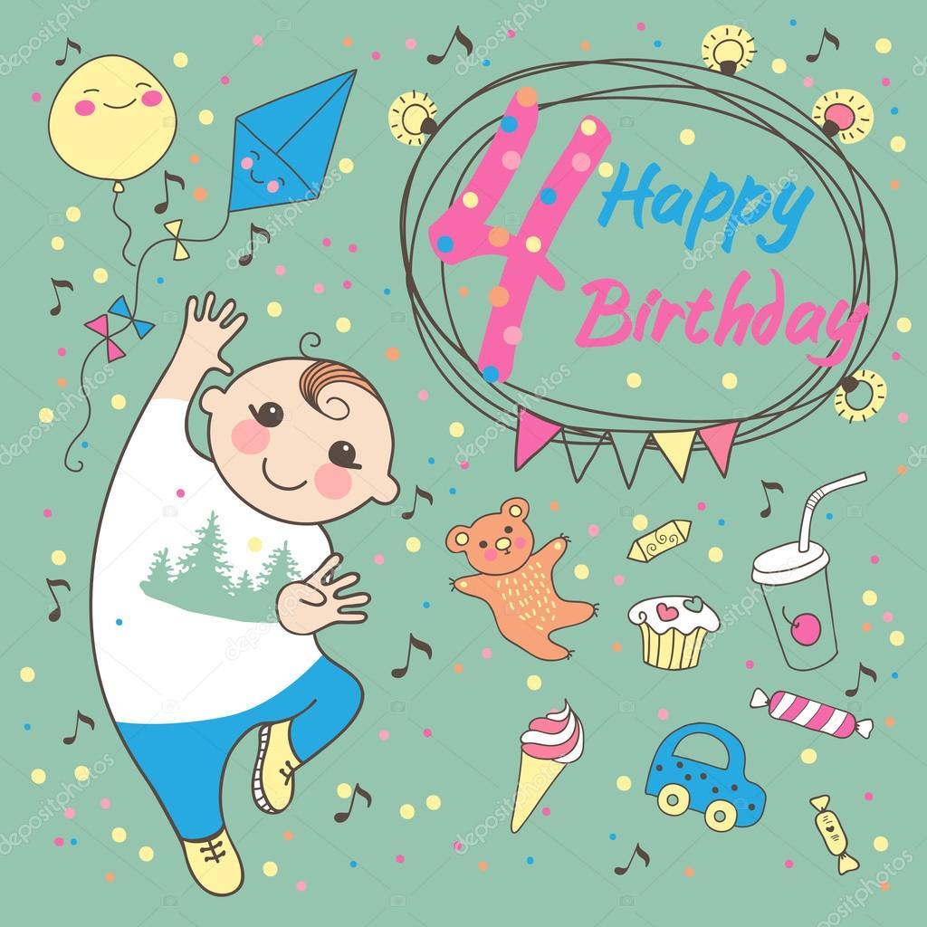 Открытки с днем рождения мальчику 4 лет фото