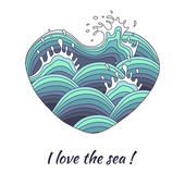 The heart symbolizes love of the sea. — Stock Vector