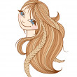 Beautiful woman with long blonde hair — Stock Vector