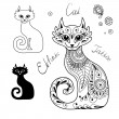 The Cats in the ethnic style. — Stock Vector