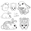 Set of cute rabbits. — Stock Vector
