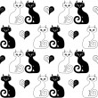 Seamless illustration of a pair of cats and hearts — Stock Vector