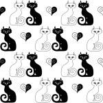 sömlös illustration av ett par katter och hjärtan — Stockvektor