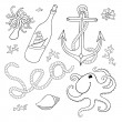 A set of elements: seashells, rope, anchor, octopus, a bottle wi — Stock Vector