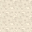 Vintage seamless pattern with bunnies and flowers. — Stock Vector