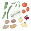 Set of vegetables. The elements of the set: potatoes, tomatoes, — Stock Vector