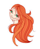 Beautiful red-haired woman with long hair — Stock Vector