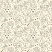 Vendimia de patrones sin fisuras con conejitos y flores. — Vector de stock
