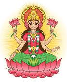 Deusa lakshmi - traz riqueza e prosperidade — Vetor de Stock