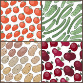 Set of seamless patterns with vegetables: tomatoes, cucumbers, p — Stock Vector