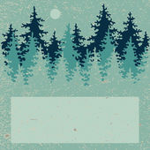 Illustration of coniferous forest with a place for your text — Stok Vektör