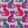 Seamless pattern with beautiful cats in the ethnic style — Stock Vector #29250241