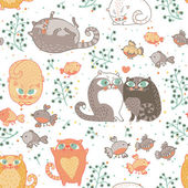 Romantico seamless pattern con gatti e uccelli in vettoriale. — Vettoriale Stock