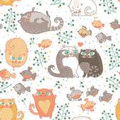 Romantiska seamless mönster med katter och fåglar i vector. — Stockvektor