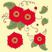 Conjunto de elementos florais — Vetor de Stock