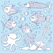 Illustration of underwater life. A set of elements: fish, anchor — Stock Vector