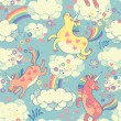 Cute seamless pattern with rainbow unicorns in the clouds — ベクター素材ストック
