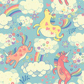 Cute seamless pattern with rainbow unicorns in the clouds — Stock Vector