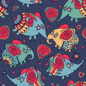 Allegro motivo senza soluzione di continuità con gli elefanti e le rose — Vettoriale Stock