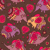 Cheerful seamless pattern with elephants and roses — Stock Vector