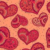Yürekleri çiçekli süsleme ile seamless modeli — Stok Vektör