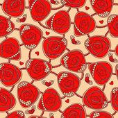 Naadloze patroon met decoratieve rozen — Stockvector