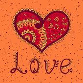 Hjärta med blommig ornament — Stockvektor