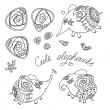 Set of cute little elephants and roses — Stock vektor