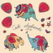 Set of cute little elephants and roses — Stock Vector