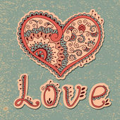 Vintage card with hearts — Stock Vector