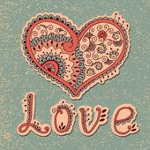 Cartão vintage com corações — Vetorial Stock