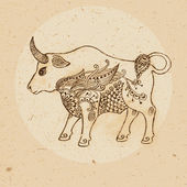 Bull with elements of the ornament in ethnic style. Zodiac sign — Vetor de Stock