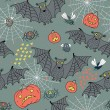 Seamless pattern for a Happy Halloween with bats, spiders, pumpk — Stockvektor