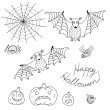 Set of design elements for Halloween in style cartoon: bats, pum — Stock Vector
