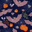 Stock Vector: Seamless pattern for a Happy Halloween with bats, spiders, pumpk