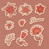 Conjunto de elementos florales de diseño — Vector de stock