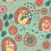 Seamless pattern with cute hedgehogs and flowers — Stock Vector